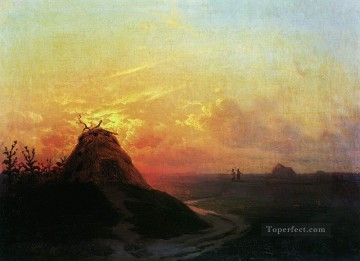 sun - field sunset 1861 Romantic Ivan Aivazovsky Russian